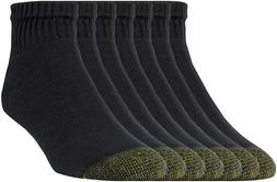 Gold Toe Men's Black Cotton Quarter Athletic Sock 6 pair - S