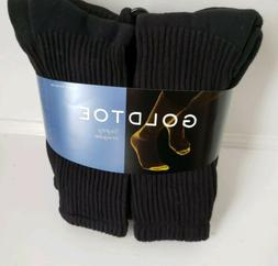 Gold Toe® Men's Black Cushion Cotton Crew Socks, 6 Pair, so