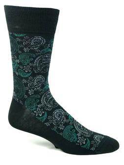 Men's Black Green and Gray Paisley Pattern Crew Dress Socks