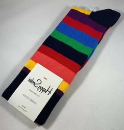 MEN'S HAPPY SOCKS BRIGHT COLORFUL STRIPE PATTERN DRESS SIZE