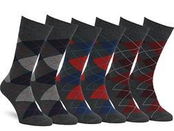 Easton Marlowe Men's Classic Cotton Argyle Dress Socks - 6pk