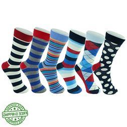 Alpine Swiss Men's Cotton 6 Pack Dress Socks Striped & Argyl