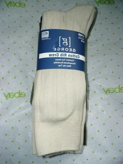 George Men's Cotton Rib Crew Socks 6 Pair Shoe Size 6-12 Tan