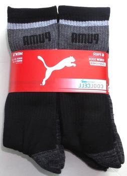 Puma Men's Crew Socks 6 Pack 10-13 Black Grey Cushioned Stre