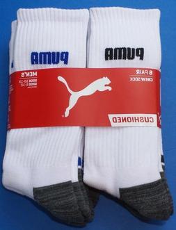 Puma Men's Crew Socks Large 6 Pack White Black Blue Cushione
