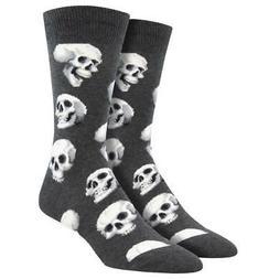 Socksmith Men's Crew Socks Sacred Skulls Charcoal Grey Novel