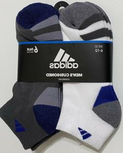 Adidas Men's Cushioned 6-Pair Low Cut Socks   White/Gray/Blu