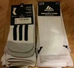 Adidas Men's Cushioned Crew Socks 3 Pair Shoe Size 6-12 Bran