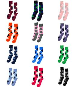Men's Dress Socks Argyle Diamond Pattern Premium Cotton Wedd