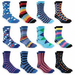 Men's Dress Socks Size 10-13 Colorful Funky Patterned Crew S