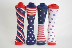 Men's Fun Crew Socks Patriotic Stars Stripes Flag Shoe Size