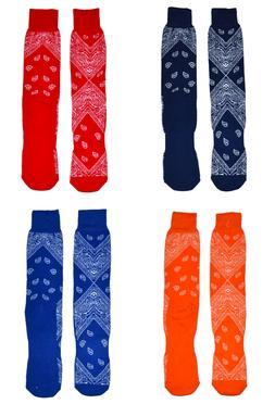 Men's Fun Socks Bandana Print Tube Cotton Casual Crew Knit P
