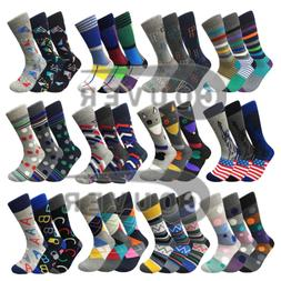 Men's Funny Colorful Novelty Crew Casual Patterned Socks 3 P