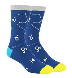 Men's Funny Cool Novelty Crew Fun Socks Constellation Patter