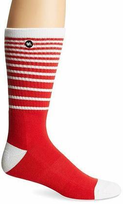 Men's New Balance Lifestyle STRIPE Crew Socks N4701 RED / WH