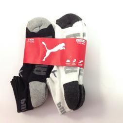 Puma Men's Low Cut Socks 6 Pack 10-13 L White Black Grey Ath