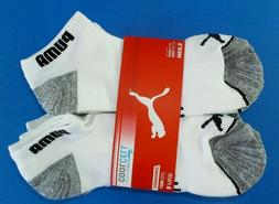 Puma Men's Low Cut Socks 6 Pack Large 10-13 White Black Grey
