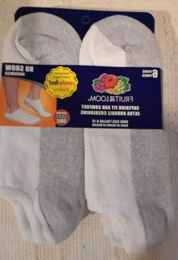 Fruit of the Loom Men's No Show Socks 6 Pack Shoe Size 6-12
