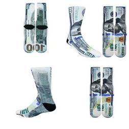 Zmart Men's Novelty Crazy 3D Money Print Athletic Socks Funn
