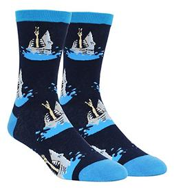 men s novelty funny crazy shark crew