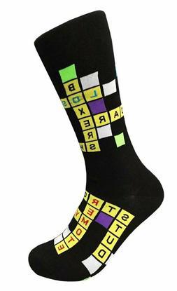 Men's FineFit Novelty Socks - Crossword Puzzle