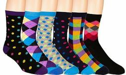 Men's Colorful Dress Socks 6 Pairs Fun Funky Assorted Patter