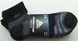 adidas Men's Quarter Crew Socks 3 Pair Pack Large Black Grey