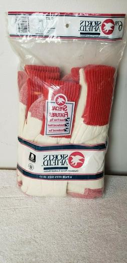 Sports Afield Men's Red Ivory Hunting Boot Socks 6 Pairs NEW