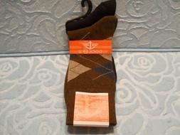 Dockers men's Socks 2 Pairs Plaid Brown Solid Black Fits Sho
