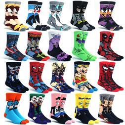Men's Socks Cartoon Anime Funny Socks Super Hero Novelty Bre