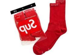 MEN'S SUPREME SOCKS HANES CREW RED  BOX LOGO CLASSIC 6-12 FW