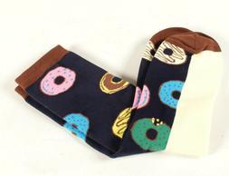 Zmart Men's Socks Novelty Donuts Size 10-13 Black Background