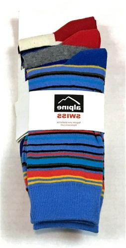 Alpine Swiss Men's Striped Dress Socks 3 Pack, One Size, MSR