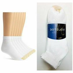 Gold Toe Men's White Cotton Quarter Athletic Sock 6 pair - S