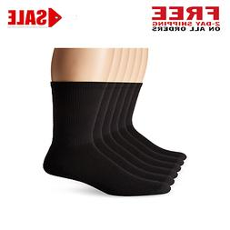 Men's X-Temp Comfort Cool Vent Crew Socks Black 6-12 Pack of