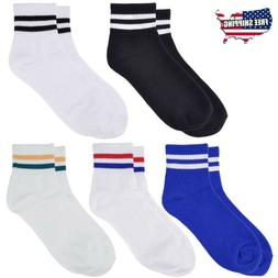 Men Unisex Cotton Striped Ankle Quarter Work Sports Crew Str