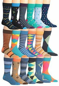 James Fiallo Mens 18-Pairs Colorful Patterned Fun Funky Dres