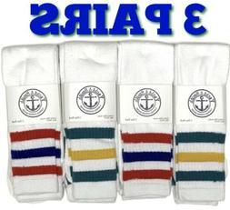"3 PAIRS - Men's 22"" Tube Socks Cotton Referee Style Size"