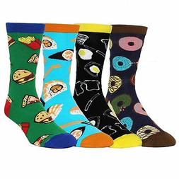 Zmart Mens 4 Pack Crazy Novelty Cotton Funny Food Dress Crew