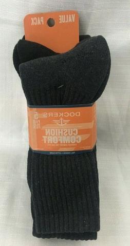 Dockers Mens 5 Pack Cushion Comfort Sport Crew Socks Black A