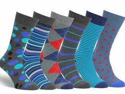 Easton Marlowe Mens 6 Pack Colorful Patterned Dress Socks Eu