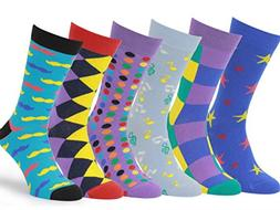 Easton Marlowe Mens - 6 PACK - Colorful Patterned Dress sock