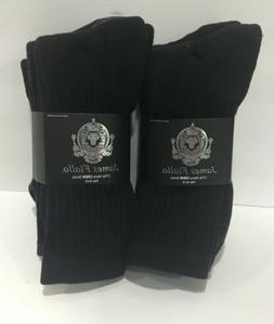 Mens James Fiallo 6 Pair Nice Quality Black Knit Crew Socks