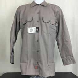 Dickies Mens Button Down Work Shirt 5.25 oz Long Sleeve Gray