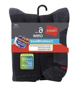 Men's Hanes ComfortBlend 6pk Max Cushion Crew Socks, Black