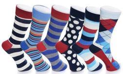 Mens Cotton 6 Pack Dress Socks Solid Ribbed Argyle Shoe Size