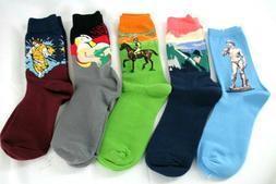 Mens HSELL Crew Socks 5 Pair  5-11 Multi color Statue Nature