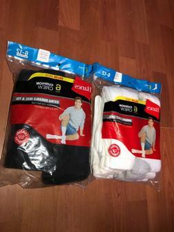 Hanes Mens Cushion Crew Socks Sport 6 Pair Size 6-12 White &