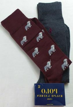 Polo Ralph Lauren Men's Dress Socks 2 Pack XL Bordeaux Cha