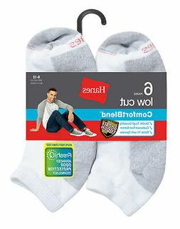 Mens FreshIQ Socks Low Cut Hanes ComfortBlend 6-Pack White B